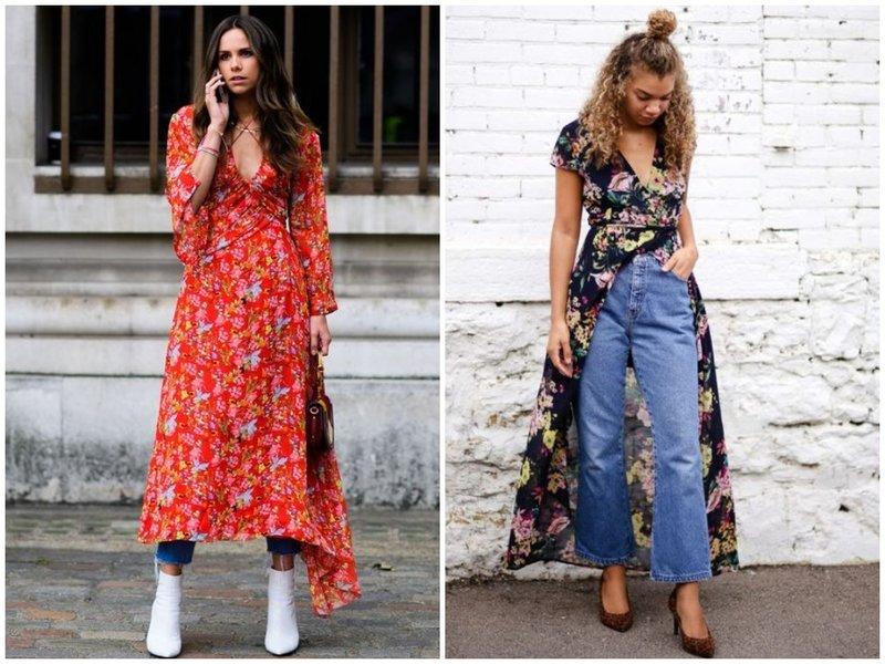Стильный образ джинсы и платье