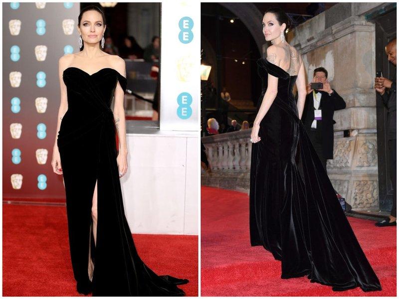 Джоли в черном бархатном платье