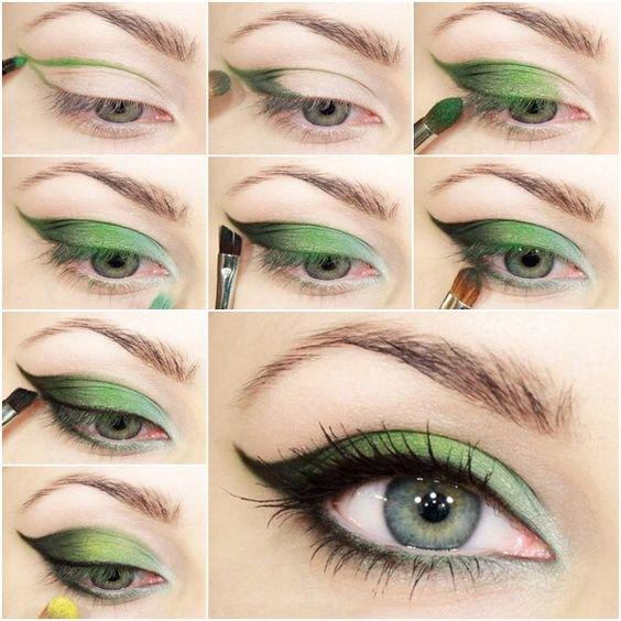 Идея для летнего макияжа для зеленых глаз: пошагово