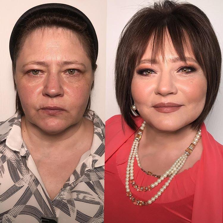 Возрастной макияж для зеленых глаз: фото до и после