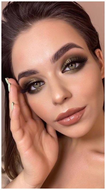 Макияж для зеленых глаз в коричневых тонах