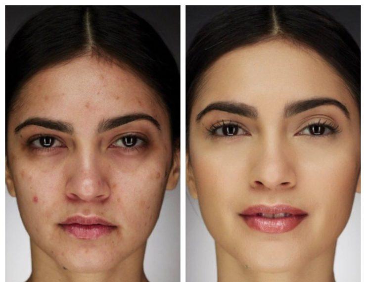макияж до и после корректора