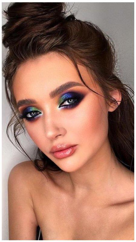 Сине-зеленый макияж для зеленых глаз