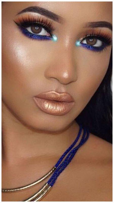 Восточный макияж с синими тенями