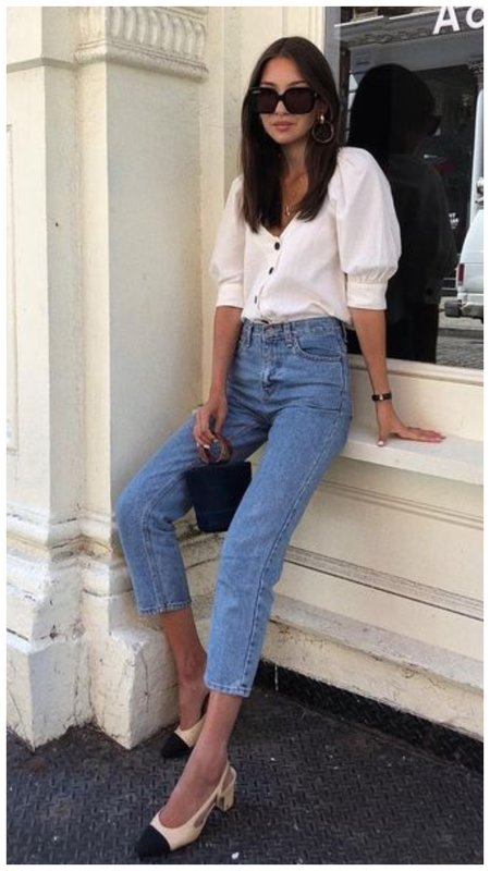 Красивый летний образ: джинсы и блузка