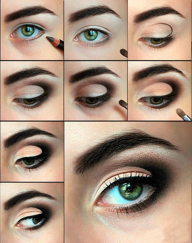 """макияж для зеленых глаз в технике """"банан"""""""