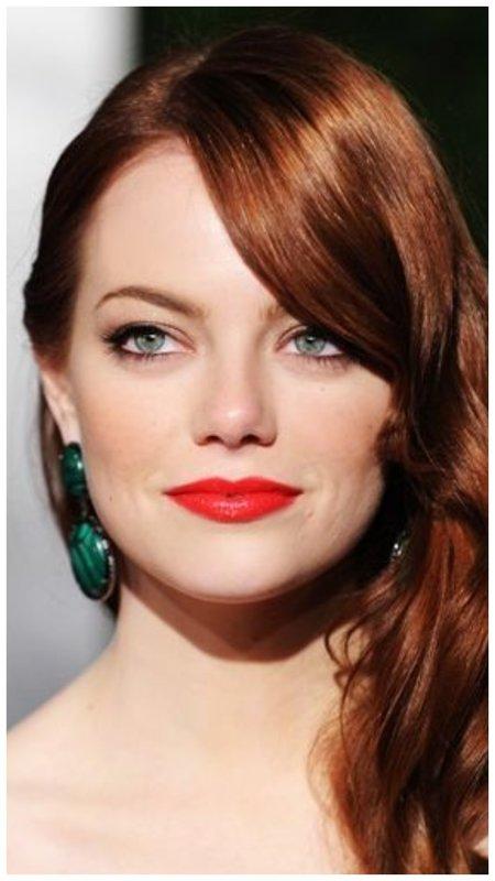 Рыжие волосы и красные губы - макияж