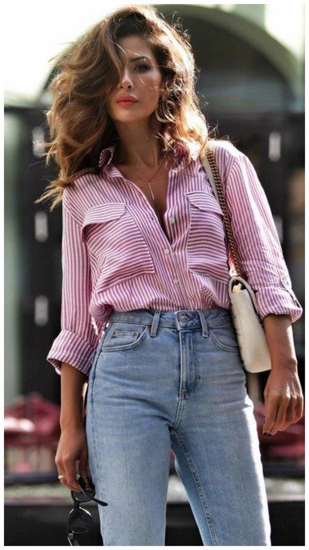 Красивый летний образ с рубашкой для женщины