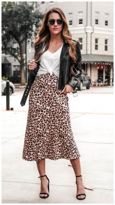 Модный образ с леопардовой юбкой