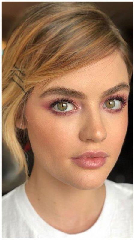 Нюдовый макияж в розовых тонах повседневный