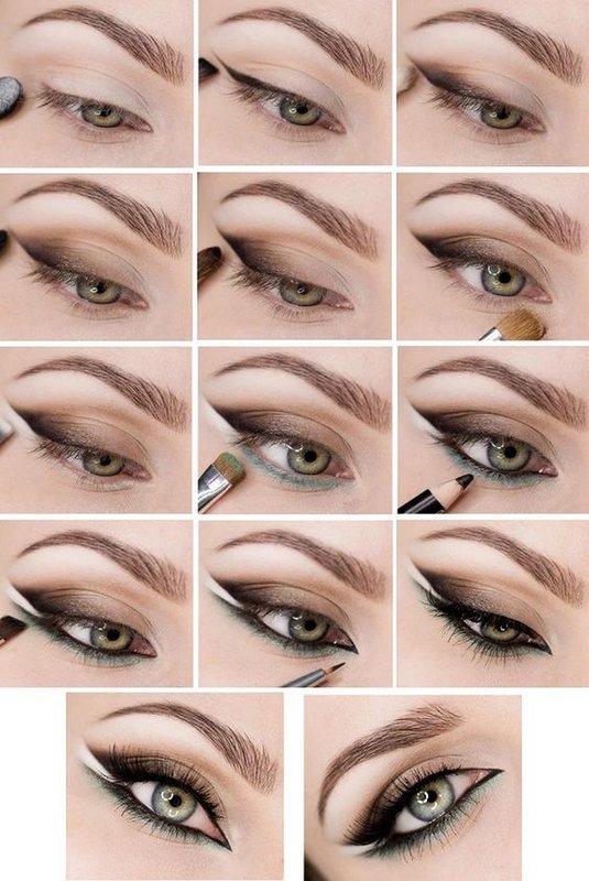 Вечерний макияж для зеленых глаз с двойной стрелкой