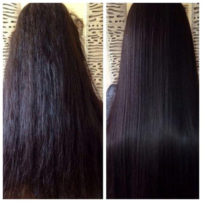 Эффект экранирования на темных волосах
