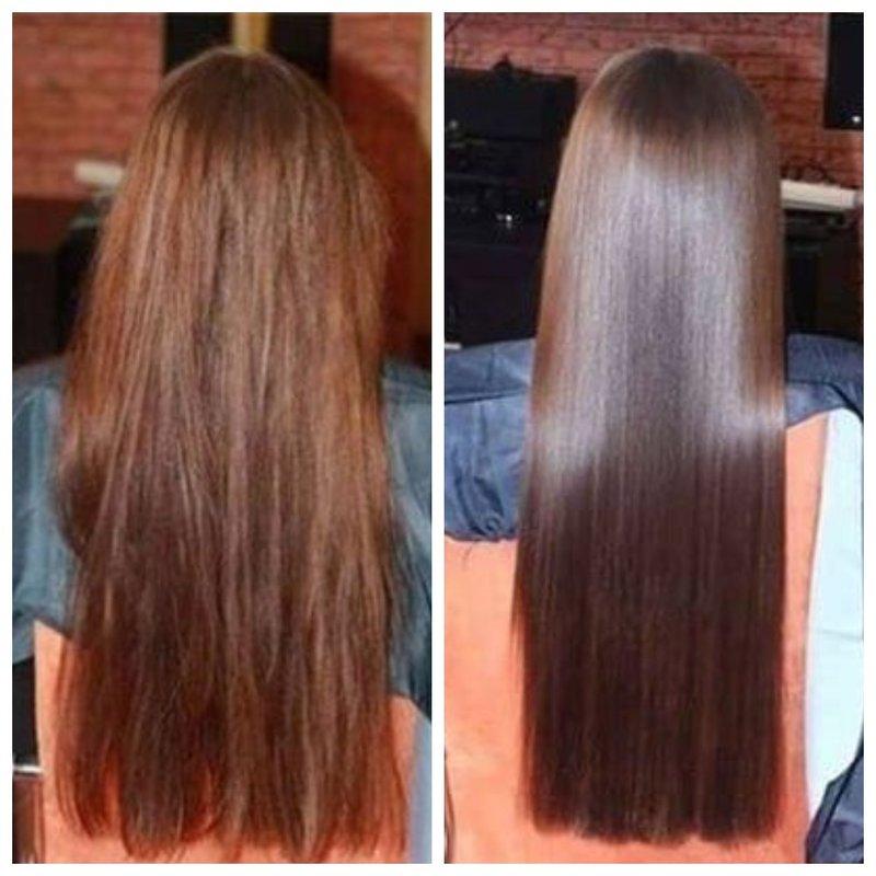 Эффект экранирования на коричневых волосах