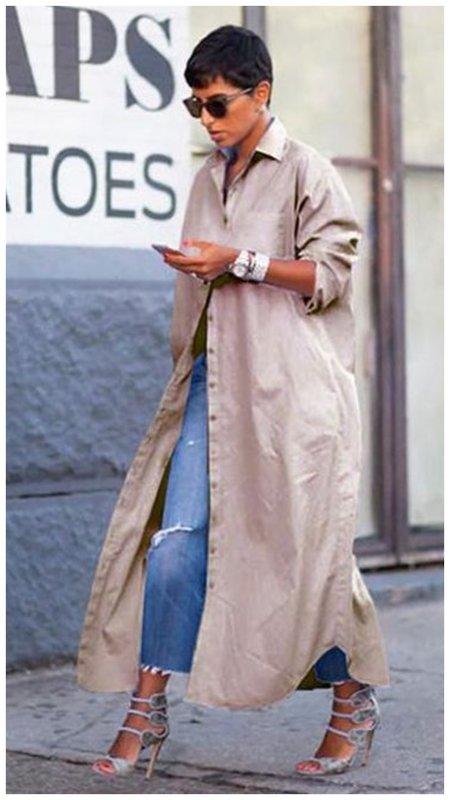Платье-рубашка с джинсами