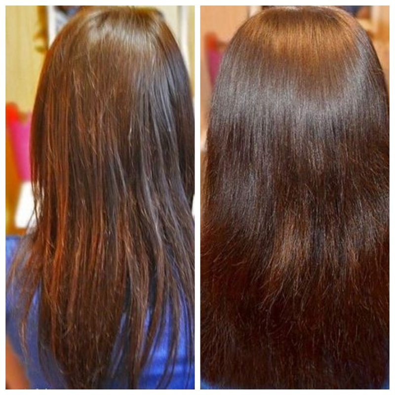 Результат ухода за волосами до и после