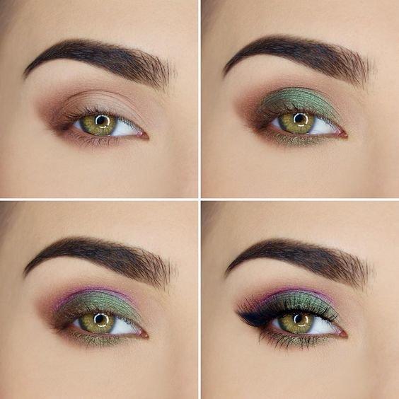 Макияж для зеленых глаз с яркими тенями