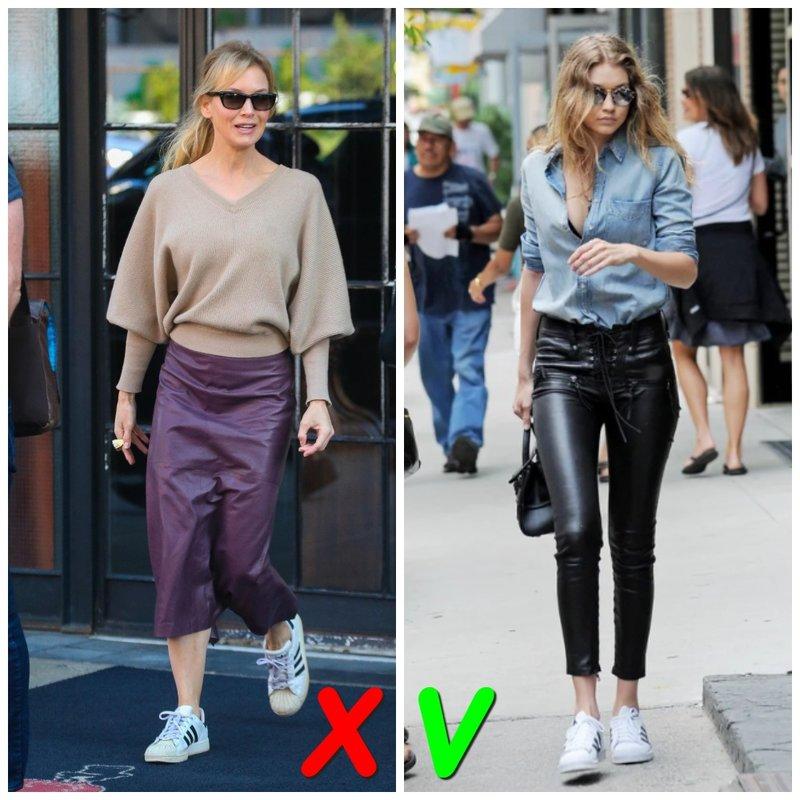 Кожаные брюки с кроссовками