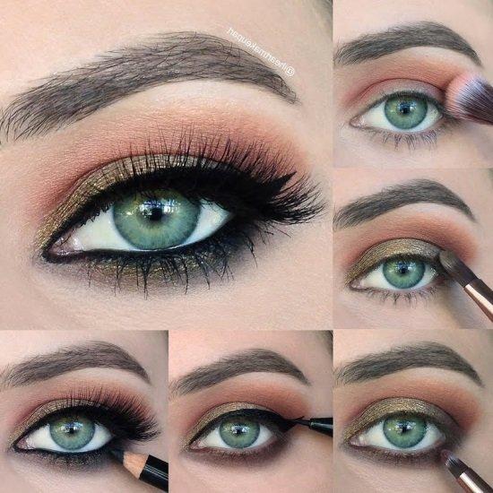 Макияж для зеленых глаз коричневыми тенями