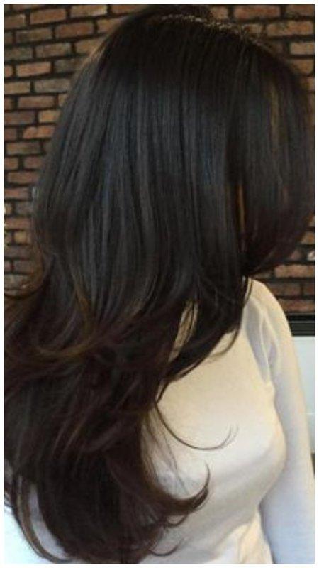 Укладка длинных волос на брашинг