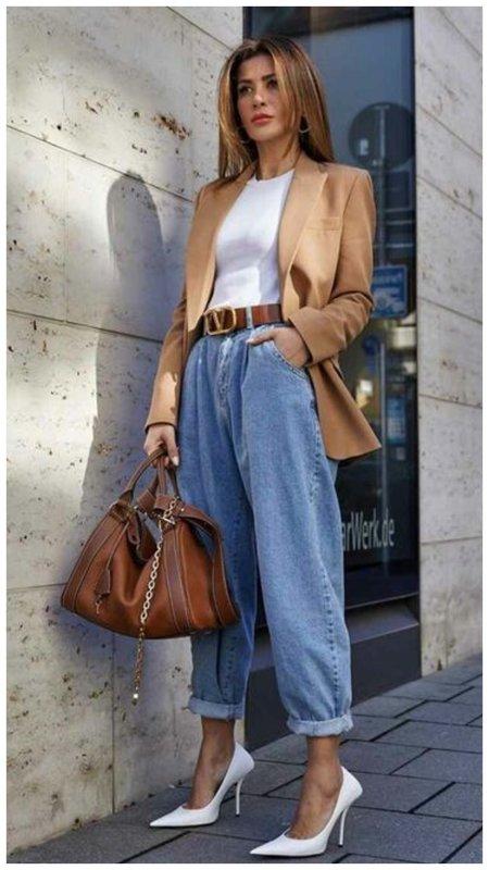 Модный образ с джинсами слоучи