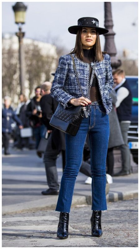 Как носить джинсы осенью