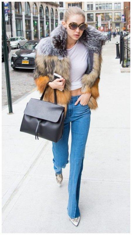 Модный образ с джинсами и шубой