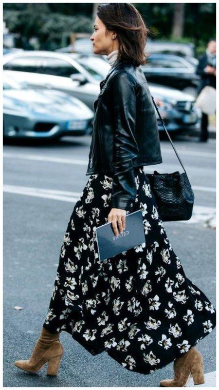 Платье с сапогами и косухой