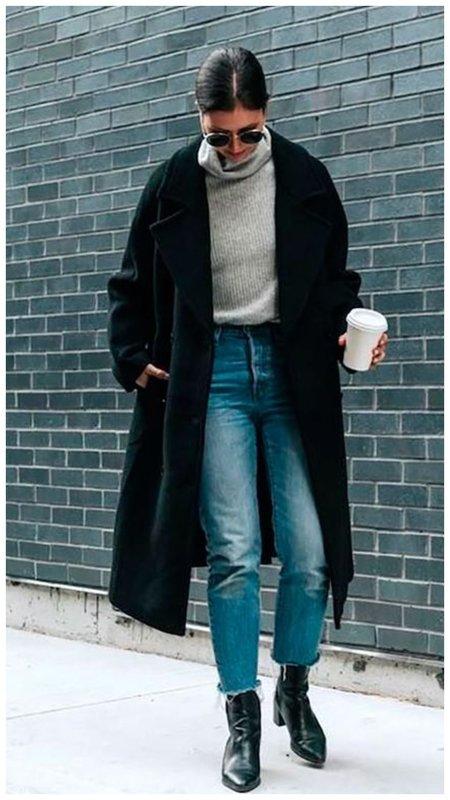 Стильный осенний образ с черным пальто