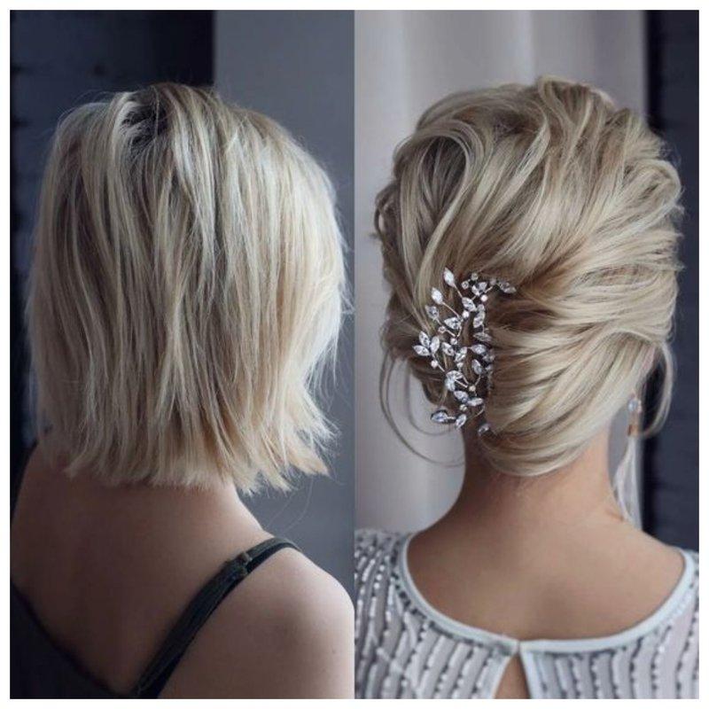 Роскошные свадебные прически на средние волосы: 100+ идей с фото