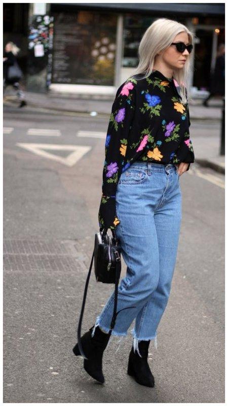 Укороченные джинсы клеш - красивый образ