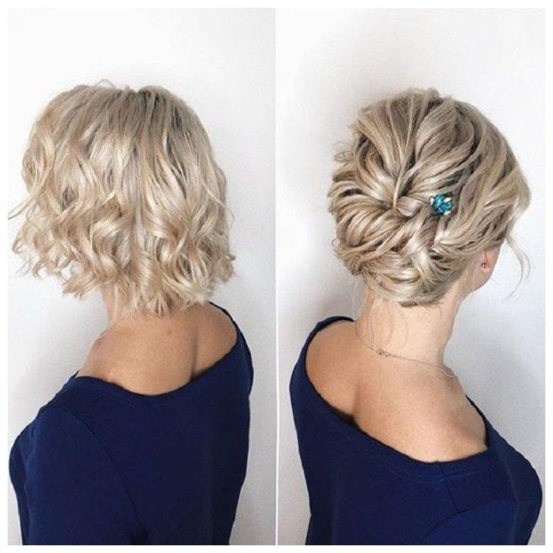 Прическа жгутиками на свадьбу для волос средней длины