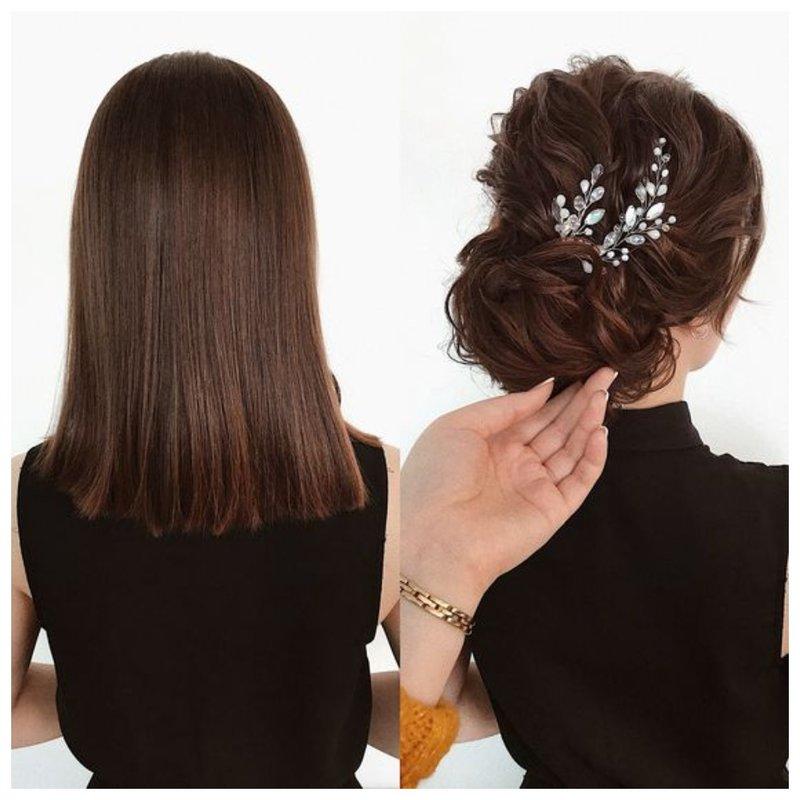 Низкий пучок на свадьбу из волос средней длины
