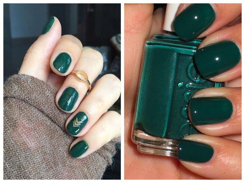 Ультрамариновый зеленый маникюр