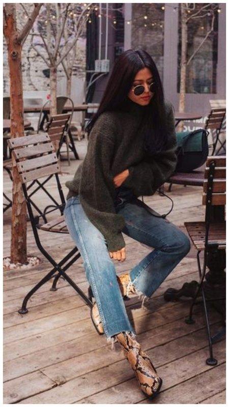 С чем носить укороченные джинсы осенью