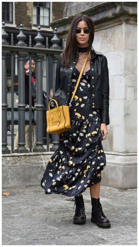 Платье с ботинками и косухой