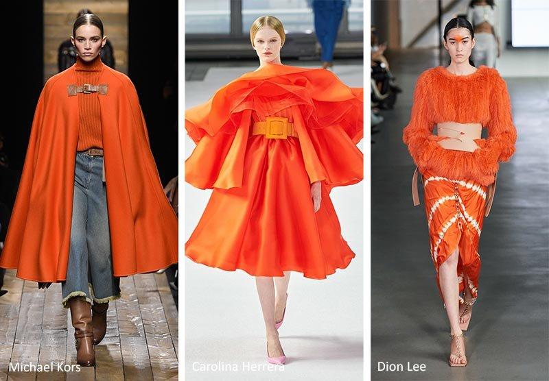 Модный оранжевый цвет осень 2020