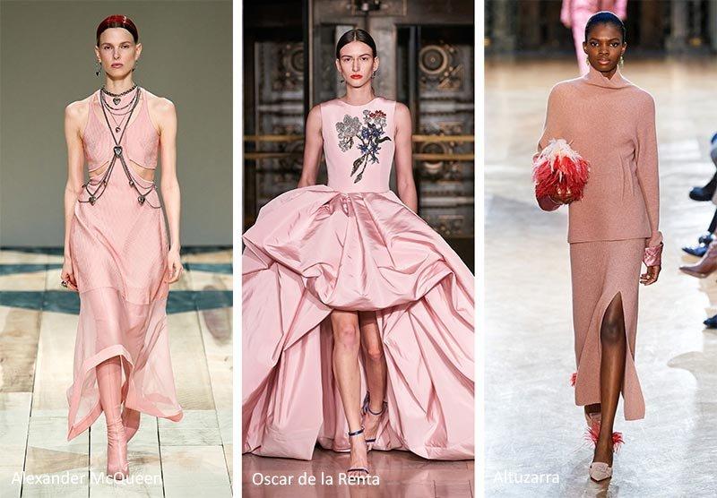 Модный оттенок на подиумах - пыльный розовый