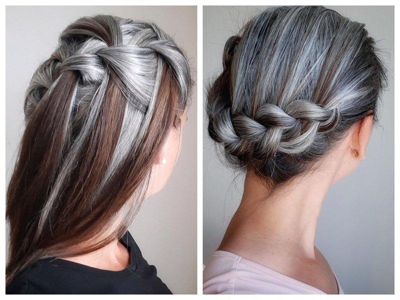 Прическа для седых волос