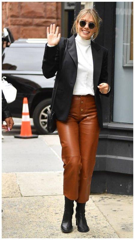 Коричневые кожаные брюки