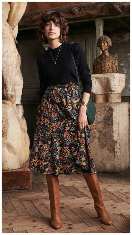 Осенний образ с миди юбкой с цветочным принтом