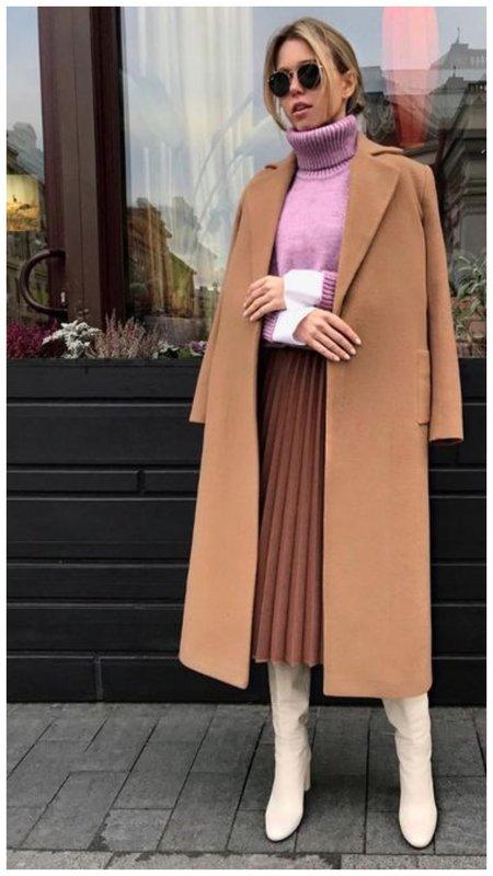 Как красиво носить юбку плиссе осенью