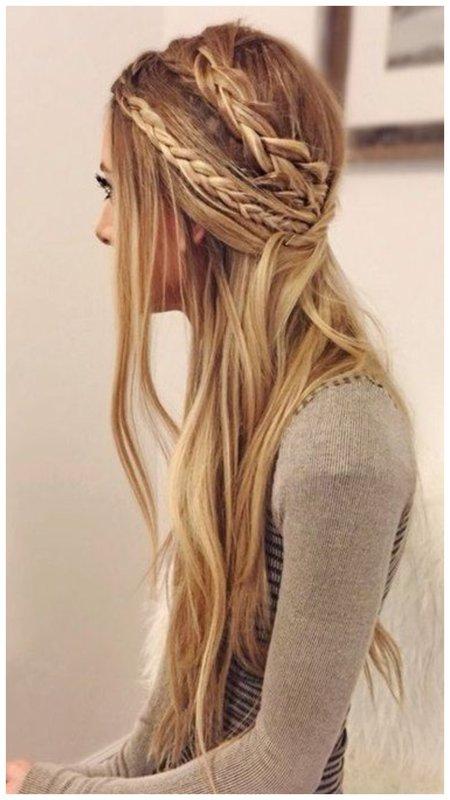 Полураспущенные волосы прическа
