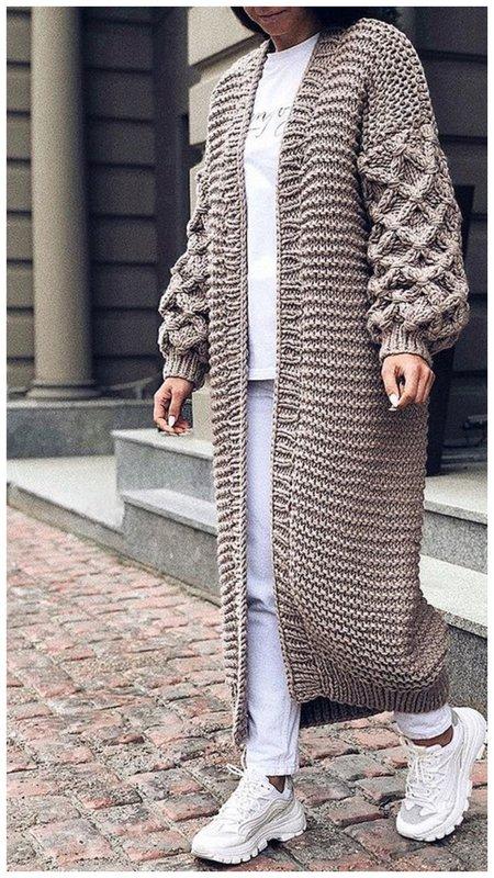Модный длинный кардиган фото