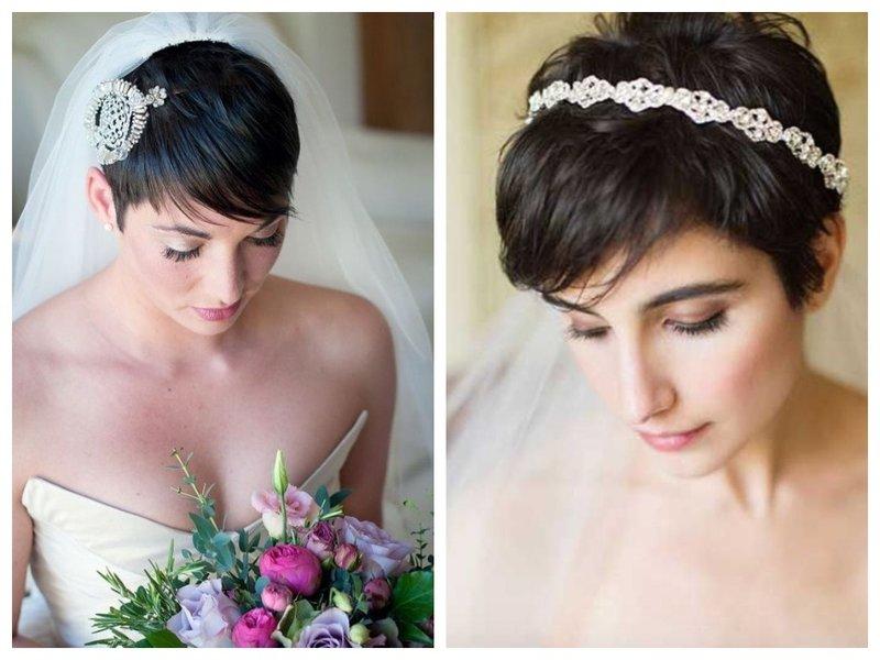 Невеста с короткими волосами и фатой