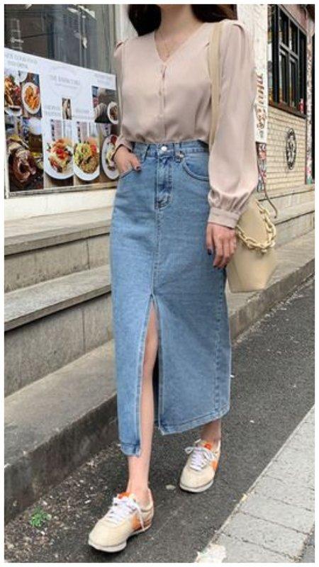 Модная юбка миди из денима фото