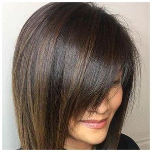 Удлинення челка для прямых волос