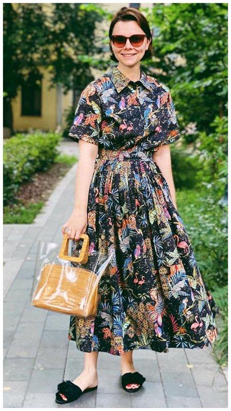 Платье-рубашка с юбкой солнце