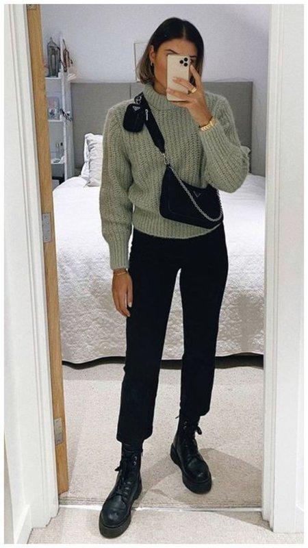 Осенний образ с черными брюками