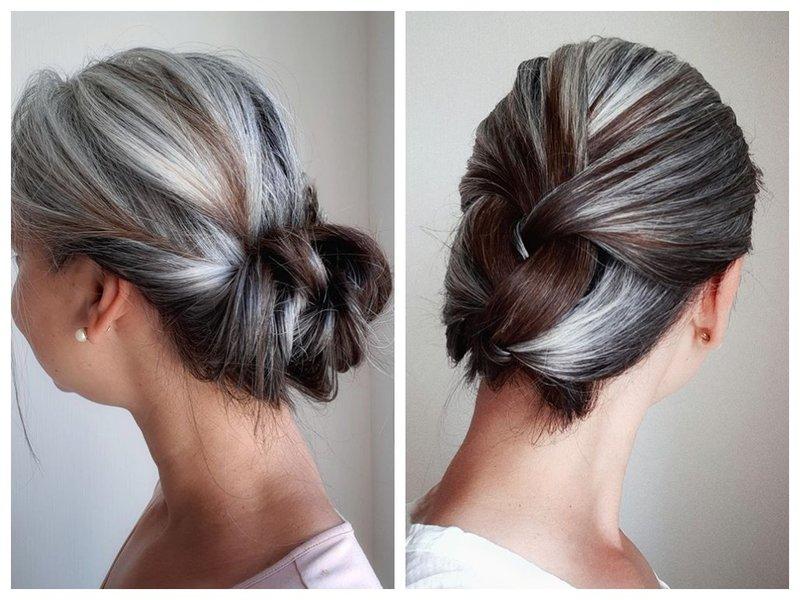 Как собрать волосы, чтобы замаскировать седину