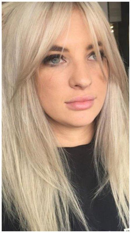 Блондинка с удлиненной челкой фото идеи